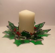 Stained Glass Christmas Holly Candle Holder