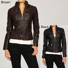 @Overstock.com - MICHAEL Michael Kors Women's Leather Motorcycle Jacket - A classic motorcycle jacket design highlights this bold Michael Kors women's jacket. This women's motorcycle jacket is crafted from genuine leather and features a satin lining.  http://www.overstock.com/Clothing-Shoes/MICHAEL-Michael-Kors-Womens-Leather-Motorcycle-Jacket/5040934/product.html?CID=214117 $173.99