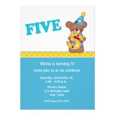 Cute bear clown birthday party invitation #card #invite #teddybear