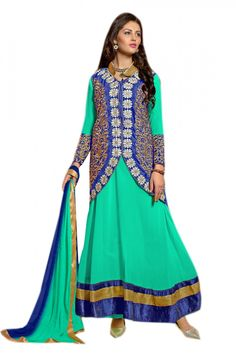 Georgette and Velvet Party Wear Anarkali Salawar kameez in Green and Blue Colour.Green & Blue Coloe Georgette & Velvet Kotty Suit with Green color Santon fabric Bottom & Green & Blue color Najneen fab...