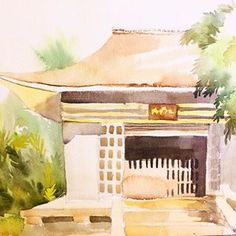 original watercolor painting of a japanese temple created by saori sold at etsy @fuselama Photos on Instagram