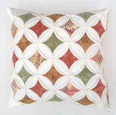Decorative Pillow Cover Autumn Batik Cathedral Window Quilt by warmnfuzzies
