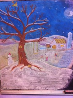 Winter scene - first grade - chalkboard drawing - Waldorf school