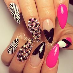 Pink and Black Diamond Almond Stiletto Nails @nailsyulieg Instagram photos | Webstagram