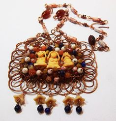 Wise Monkeys Thai inspired wire wrap necklace set by LauraStaley, $139.00
