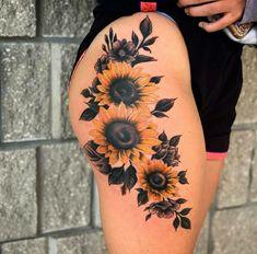 Hip Thigh Tattoos, Hip Tattoos Women, Sleeve Tattoos For Women, Mom Tattoos, Cute Tattoos, Body Art Tattoos, Tatoos, Sunflower Tattoo Shoulder, Sunflower Tattoos