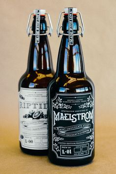 Steveston Brewing Company: Limited Edition Beers is a project to create and design packaging/labels for two beer bottles, Riptide: Blood Orange Wheat Ale & Maelstrom: Mint Chocolate Stout.