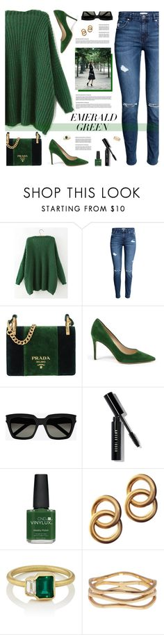 """Green"" by tamara-p ❤ liked on Polyvore featuring Prada, Yves Saint Laurent, Bobbi Brown Cosmetics, CND, Laura Lombardi, Sterling Forever and emeraldgreen"