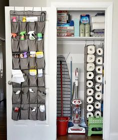 This one also uses the closet hanger style of shoe organizer for paper towel!