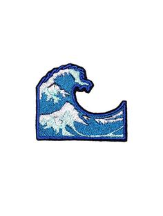 Welle Patch Eisen am bestickte Patches Applikation Stickerei • Emoji Ozean Sea Blue Surf