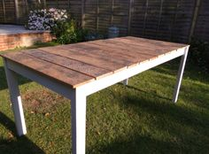 Outdoor Dining Table. Reclaimed wood top, painted pine base