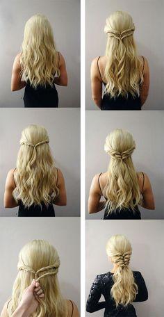 Deja que Khaleesi sea tu inspiración. | Los 19 peinados más trendy para graduarte con estilo Medieval Hairstyles, Diy Hairstyles, Hairstyles 2018, Hairstyle Tutorials, Ladies Hairstyles, Hairstyle Ideas, Long Hair Tutorials, Wedge Hairstyles, Blonde Hairstyles