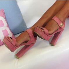 Dusky Pink Suede Platform Heel