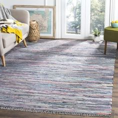 Safavieh Handmade Rag Rug Vistiana Casual Stripe Cotton Rug (Aqua/Multi x Square), Blue/Multi Aqua Area Rug, Area Rugs, Trendy Colors, Online Home Decor Stores, Woven Rug, Colorful Rugs, Rug Size, Hand Weaving, Cotton