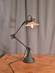 Exceptional Industrial Desk Lamp   Vintage Desk Lamp   Task Light   Cast Iron    Steampunk   Iron And Bronze   Antique Valve Handle   Industrial Lighting