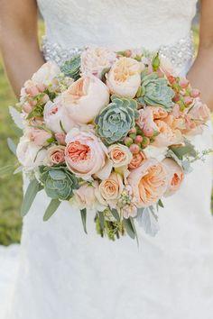 white and peach, paler colors. Bouquet by Twigs Floral Design. Peach Juliet…