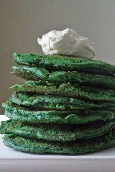 Green velvet pancakes