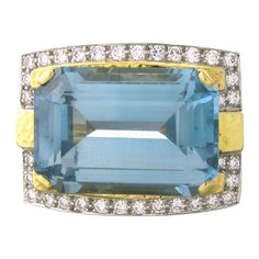 Vintage David Webb 44 carat Gold, Platinum & Diamond Aquamarine Ring