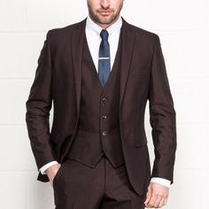 VENTURA Burgundy Slim Fit Three Piece Suit