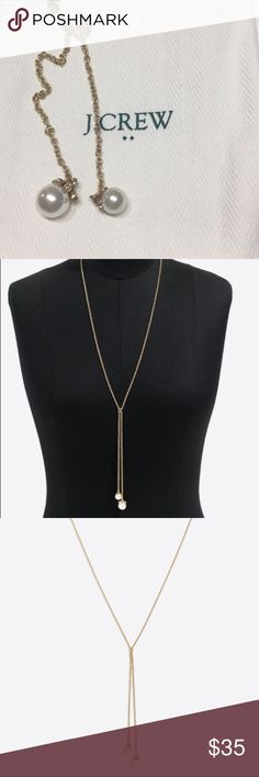 "🎉FLASH SALE💓NWT J.Crew pearl drop Y-necklace 🎉BEAUTIFUL HOLIDAY GIFT!!💓NWT J.Crew Pearl drop Y-necklace. Zinc casting, steel chain, brass metal, acrylic pearl, glass stone, cubic zirconia. Imitation gold ox plating. Length: 28"" with a 3"" extender chain. Comes with dust bag J. Crew Jewelry Necklaces"