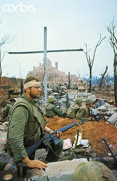 Vietnam --- US Marines by Outer Wall of Citadel --- Image by © Bettmann/CORBIS