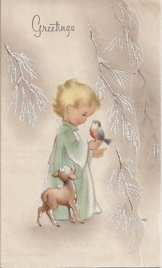 Free Printable Vintage Christmas Card – Child with Bird – From My Personal … - Christmas Cards Vintage Christmas Images, Old Christmas, Old Fashioned Christmas, Christmas Scenes, Retro Christmas, Vintage Holiday, Christmas Pictures, Christmas Angels, Christmas Greetings