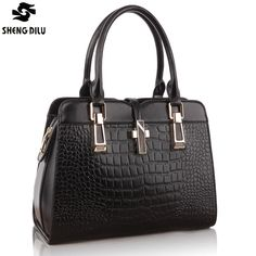 84.98$  Watch now - http://alii0l.shopchina.info/1/go.php?t=2025712546 - Julie's Store 1018 New fashion Brand black Genuine leather women handbags classic plaid bag EMBOSSED bag female messenger bags  #magazineonlinebeautiful