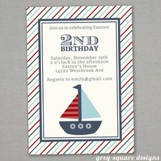 Nautical Sailboat Birthday Invitation by greysquare on Etsy, $10.00