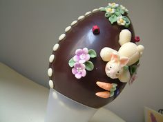 dark chocolate decorated egg