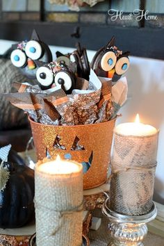 halloween Party Favors - owls made from moon pies