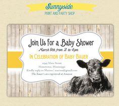 On the Farm / Cute Calf  Baby Cow Invite  - Baby Shower / Birthday - Printed or Printable. $15.00, via Etsy.