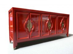 Red Lacquered Sideboard - Mid Century Modern Hollywood Regency Duquette Style From Design Haven on Ebay