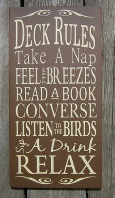 Deck+Rules++Large+Wood+Typography+Sign+by+BedlamCountryCrafts,+$55.00