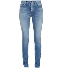 Saint Laurent Mid-rise skinny jeans ($502) ❤ liked on Polyvore featuring jeans, pants, light denim, ripped blue jeans, destroyed jeans, blue wash jeans, torn skinny jeans and skinny jeans