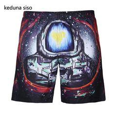 a83240ae20d7 2017 Summer 3D Print Patten Men quick dry Shorts knee-length Beach Straight Trousers  Short