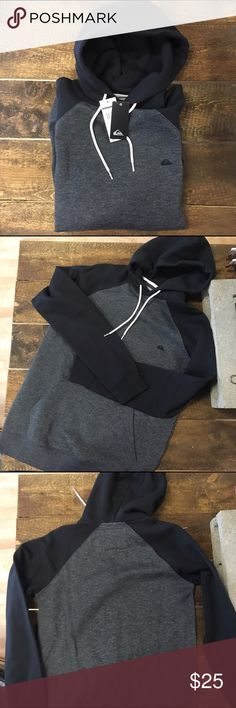 Quiksilver super soft hoodie *Black and gun metal color blocking   *Combed cotton interior (SOFT!)  *Front pocket Quiksilver Sweaters