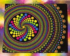 Pinturas arco iris Spin Mandala Dotart pintura Original con acrílico sobre lienzo tablero pintura mandaladotart dotpainting