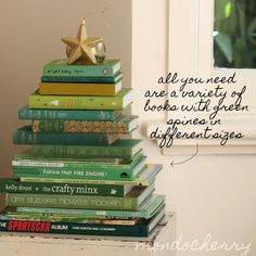 Decorating with books for Christmas. Must make a note of this for next Christmas!