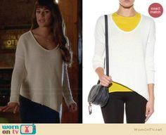 Rachel's white asymmetric sweater on Glee.  Outfit Details: https://wornontv.net/30428/ #Glee