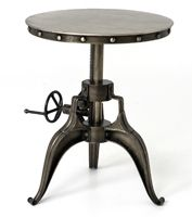 Modern Machine Shop And Vintage Industrial Inspirations Combine/ Rough, Unsanded Cast Iron, Intricate Gears, And Large Rivets/ Iron Sheet Top/ Antique Nickel Finish