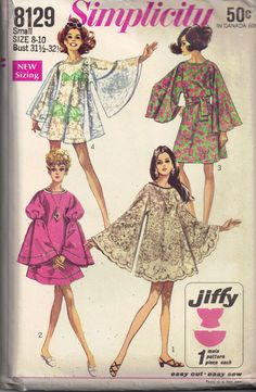 000c5eb361 Vintage 60s Angel Kimono Sleeves Mini GoGo Dress or Beach Cover Up Sewing  Pattern Simplicity 8129 Size 12, 14 Bust 34, 36