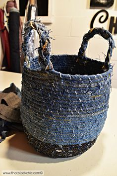 a fabric basket any size you need with this DIY Rope Basket made from Recycled Denim tutorial made by That Black Chic.Make a fabric basket any size you need with this DIY Rope Basket made from Recycled Denim tutorial made by That Black Chic. Rope Basket, Basket Weaving, Artisanats Denim, Denim Purse, Raw Denim, Fabric Crafts, Sewing Crafts, Diy Crafts, Easter Fabric