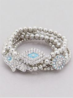 Silver tone hamsa and evil eye rhinestone stretch bracelet set www.facebook.com/jeweljunkie #forsale #jeweljunkie #followus on facebook