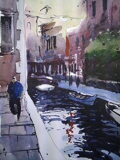 TIM WILMOT Watercolor Venice Canal 2