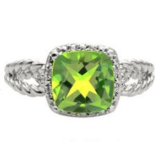 Cushion Cut Peridot August Gemstone Sterling Silver Diamond Braided Ring by gemologica on Etsy