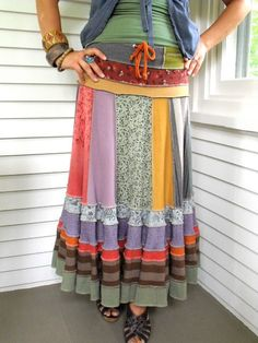 upcycled skirt..i think i could make this.. darker colors though