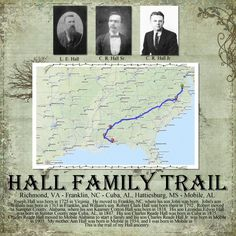 Hall Family Trail...great use of genealogical info. Love the map showing family migration across the country.