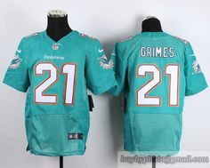 NFL Miami Dolphins #21 Brent Grimes Cyan Jersey