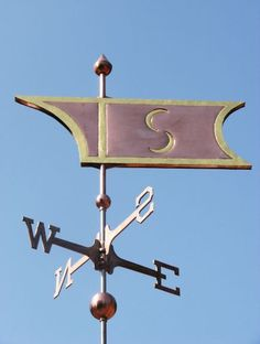 Decorative Banner Weather Vane #7 by West Coast Weather Vanes.  This handcrafted Decorative Banner #7 can be customized by adding a corporate logo, an image of a sailboat, sun, etc. using optional gold leafing.