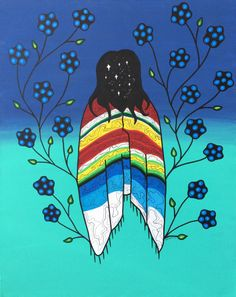 """I made this painting based on this line from my most recent poem: """"I walk until my ancestors draw maps in front of my eyes, leading me through the constellations of each of our teachings that have been passed down through the generations."""" The poem..."""